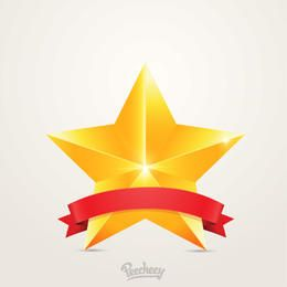 First Place Award Badge Star