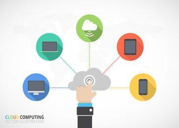 Flat Cloud Computing Infographic