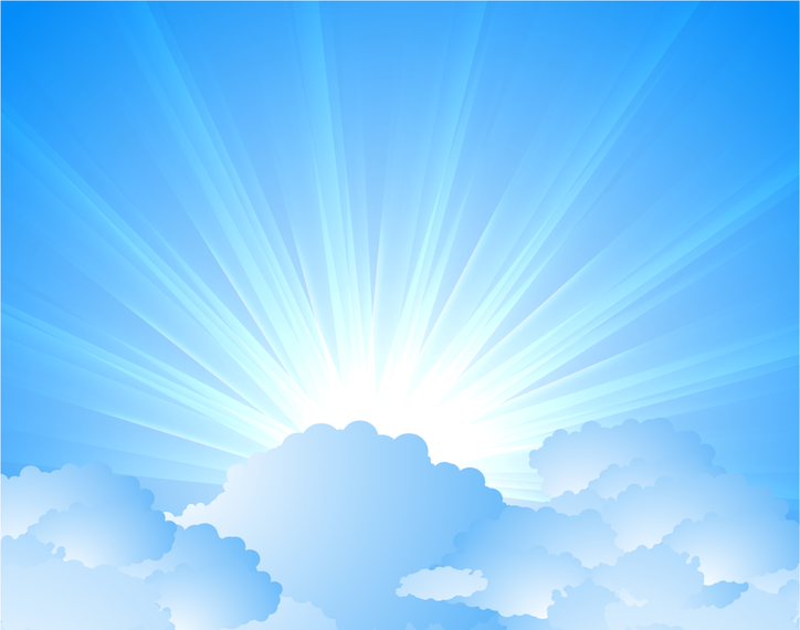 Sky illustration with clouds and light rays
