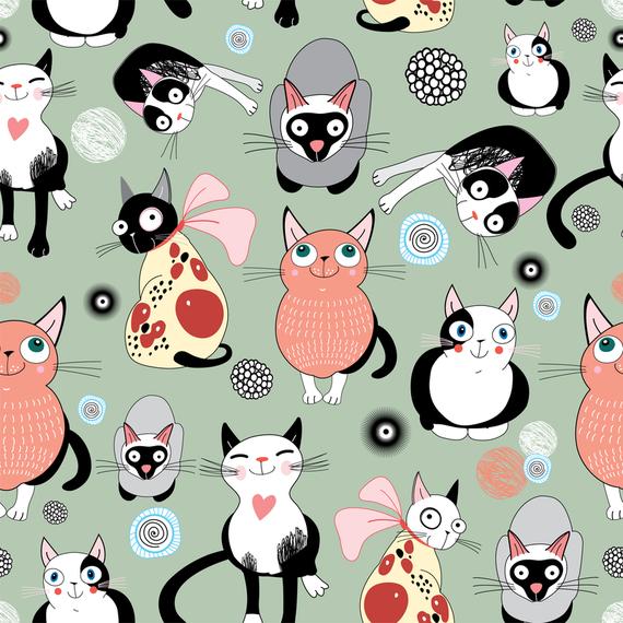 Hand drawn cat seamless pattern design