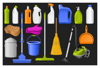 Cleaning supplies icon set