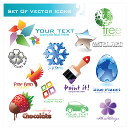3D crystal effect icon logo set