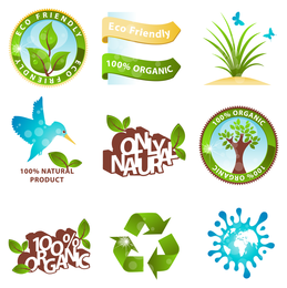 Ecology icon and label design set