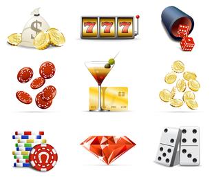 Casino elements icon set
