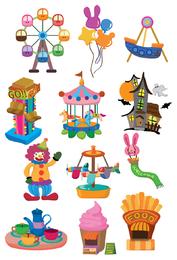 Cartoon playground circus icon set
