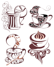 Isolated coffee illustrations with swirls