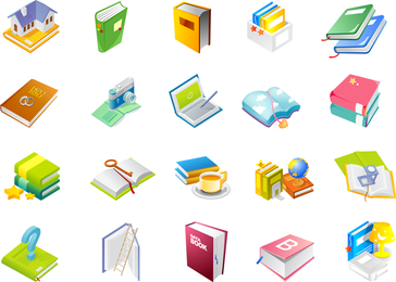 Books and school supplies icon set