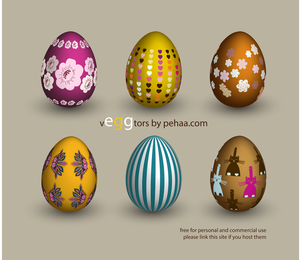 6 beautiful Easter decorated eggs