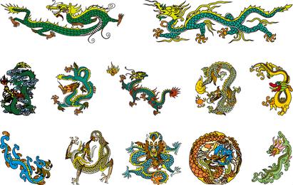 China clásica del vector del dragón de los cuatro