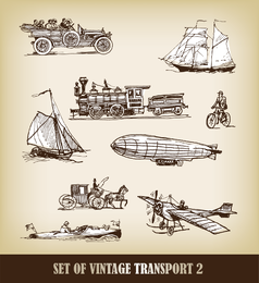 EuropeanStyle Handdrawn Transporte Carrier 03 Vector