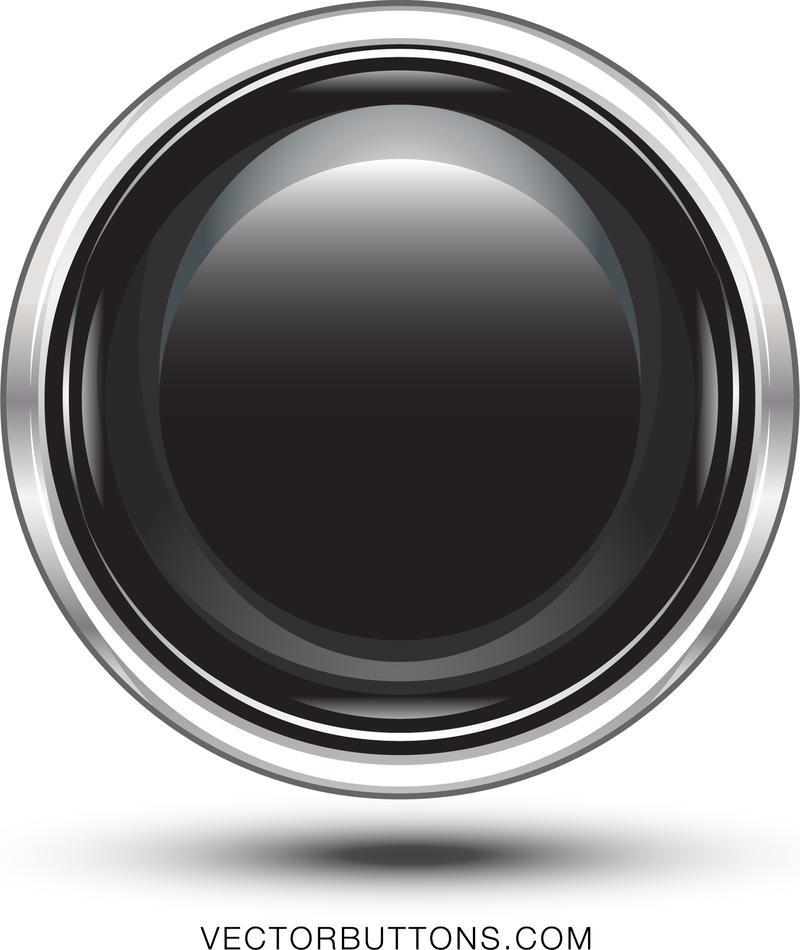 free platinum black circle button vector download