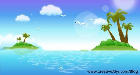 Fresh Beautiful Tropical Ocean Island
