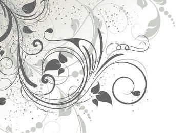 Swirling Grey Abstract Floral with Grunge