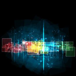 Dynamic Colorful Squares Fluorescent Background