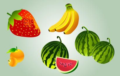 Cartoonish Paquete Frutas Vector