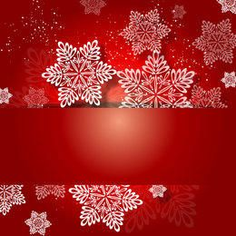 Red Christmas Invitation with White Snowflakes