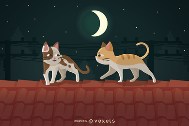 Vector Cats On The Roof