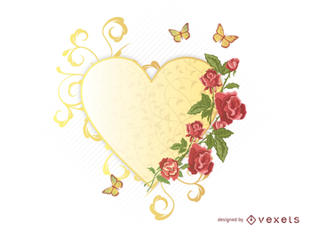 Exquisite Roses Butterfly Vector