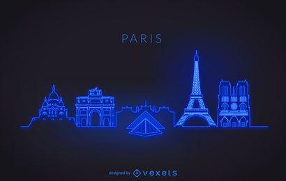 Silueta de horizonte de París neón
