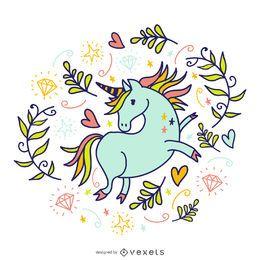 Doodled unicorn with elements