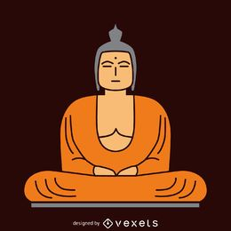 Flat Buddha illustration