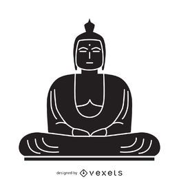 Black and white Buddha illustration