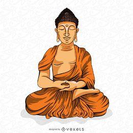 Buddha meditating illustration