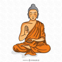 Buddhist monk meditating illustration