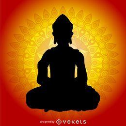 Buddhism silhouette with mandala