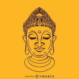 Buddha face illustration