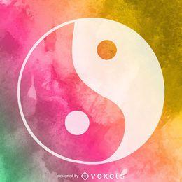 Watercolor yin yang symbol