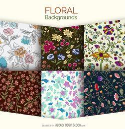 6 floral backgrounds set