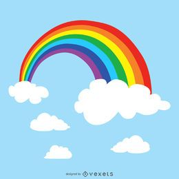 Arco iris en el cielo ilustración
