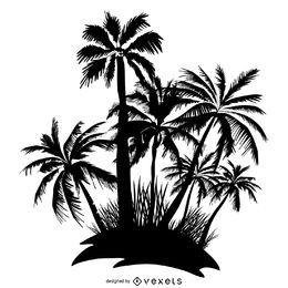 Palm trees island silhouette