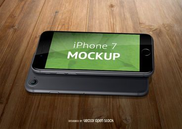 iPhone 7 mockup over wood PSD