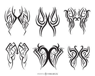 Pinstripe line art set of 6