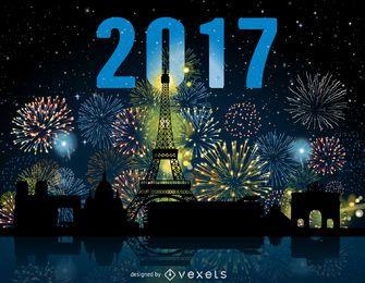 2017 Paris fireworks skyline