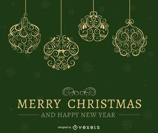 diseño de la tarjeta de Navidad verde