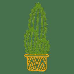 Cactus ornamented color silhouette