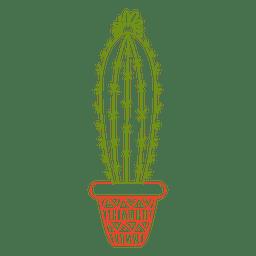 Cactus pot ornamented color silhouette