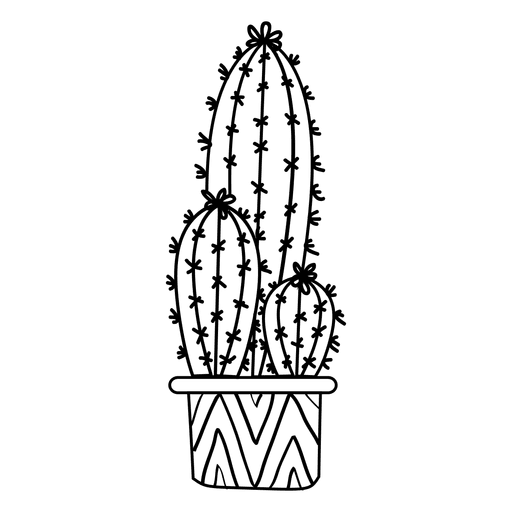 Cactus pot ornamented silhouette Transparent PNG