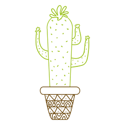 Colorful silhouette hand drawn cactus pot