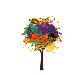 Brush paint colorful tree