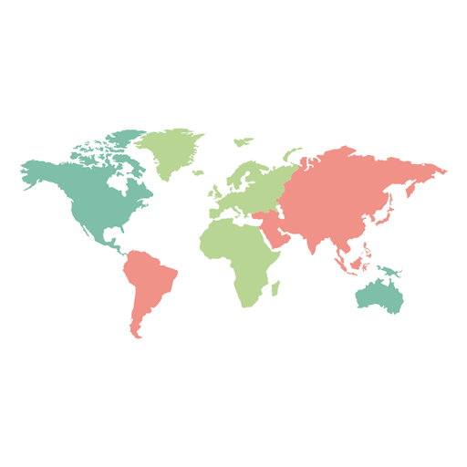 Colored continents world map - Transparent PNG & SVG vector