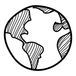 Hand drawn globe icon