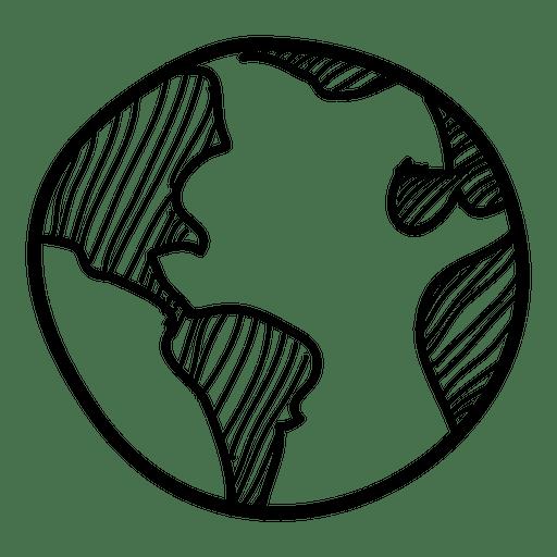 Hand drawn globe icon Transparent PNG