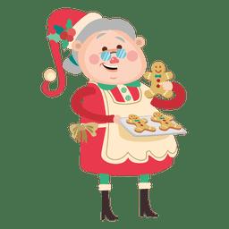 Lady santa baking gingerman cookie
