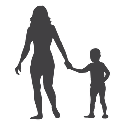 Mothers day silhouette with child in hand