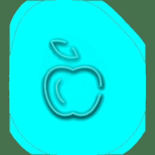Neon blue apple icon Transparent PNG
