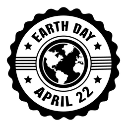 Star round earth day label